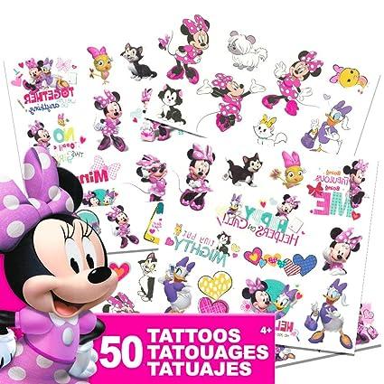Amazon.com: Disney Minnie Mouse Tattoos - 50 Assorted Temporary ...