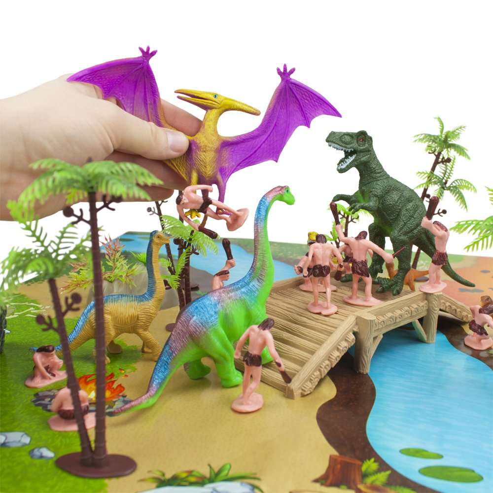 Imagination Generation 100 Piece Jurassic Dinosaur and Cave Man Prehistoric Playset | Includes Play Mat, Storage Containter, Volcano, Bridges, and Plants | Educational Booklet Packed In with Each Set by Imagination Generation (Image #3)