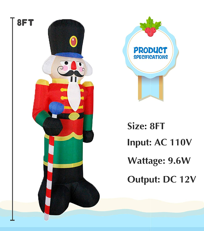 JF deco D/écorations gonflables de Garde de Maison de Casse-Noix de d/écoration de No/ël de 2,4m ext/érieures