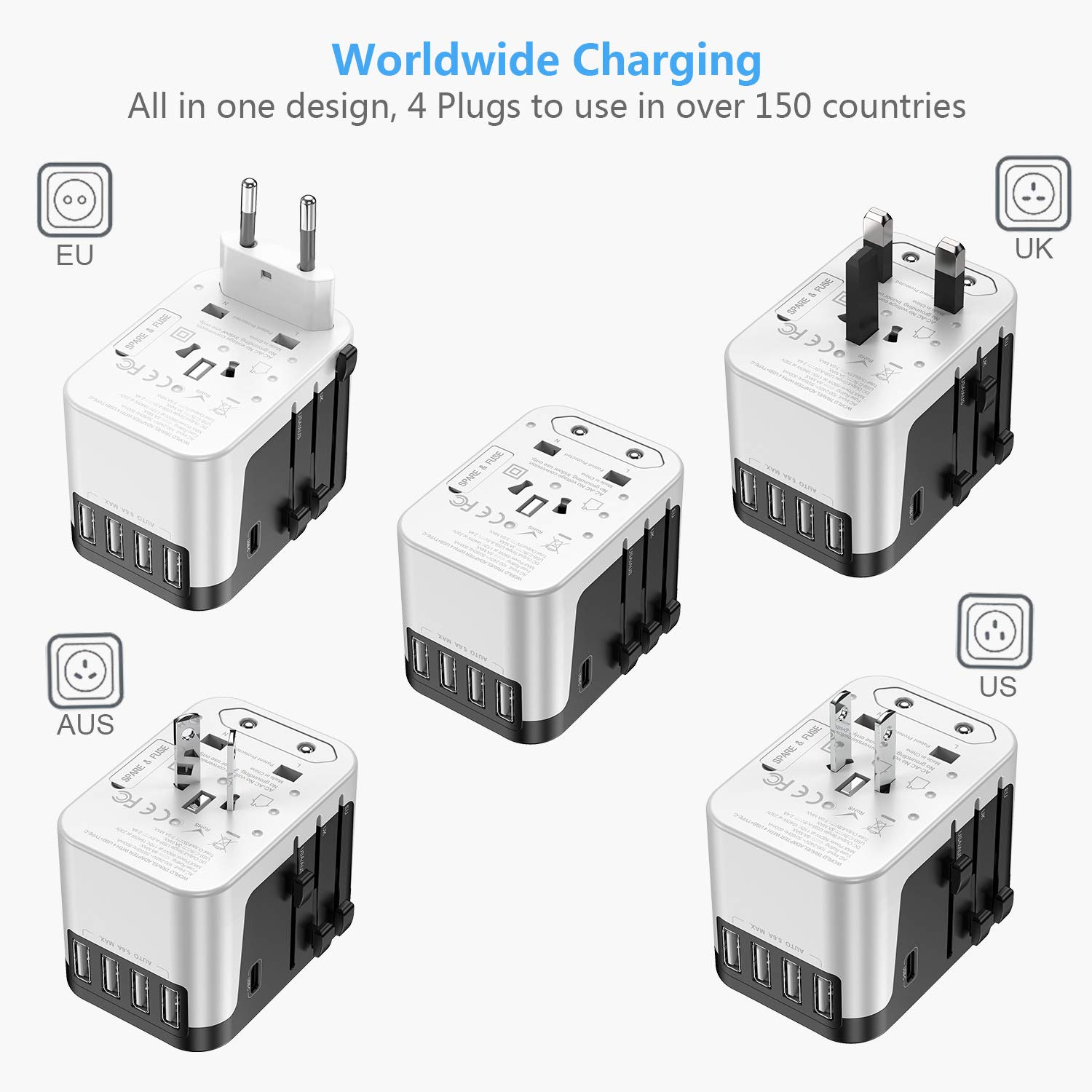 Asia-Black European Adapter AU RXSQUL Universal International Travel Power Adapter W//Smart High Speed 4.6A 4xUSB Worldwide AC Outlet Plugs Adapters for Europe UK US