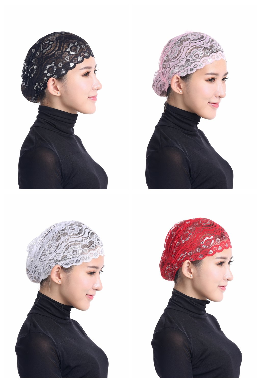 Ksweet 4pcs Shiny Lace Head Cover Stretch Head Cap Bonnet Women Underscarf (Black-Pink-White-Red)