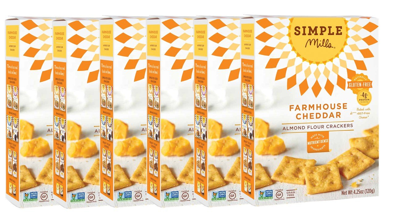 Simple Mills Almond Flour Crackers, Farmhouse Cheddar, 4.25 Ounce (Pack of 6) by Simple Mills