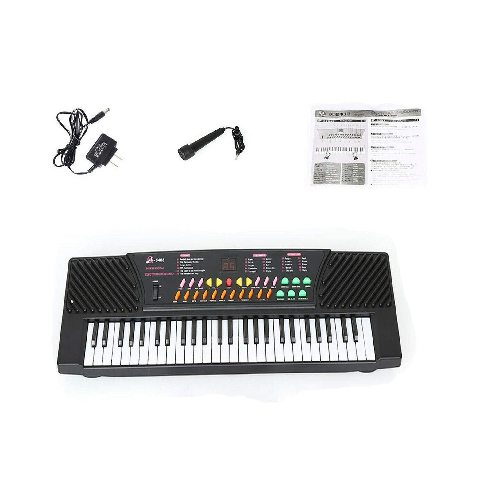 NuaDua 54 Key Music Electronic Keyboard Piano With Sound Effects- Portable For Kids & Beginners,Us Plus