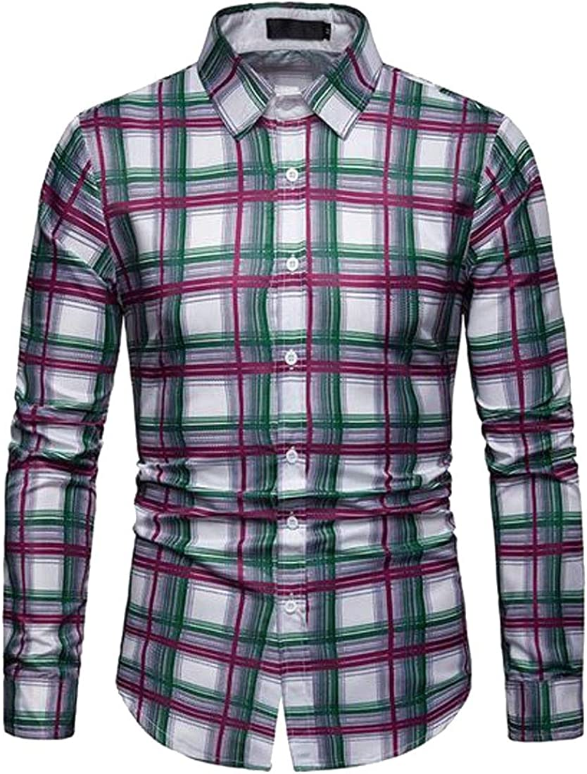 Fubotevic Mens Slim Fit Plaid Print Long Sleeve Casual Button Up Dress Checkered Shirt