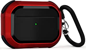 Upgraded Armor for Airpod Pro Case, CAGOS Shockproof UAG AirPods Pro Cover Cool iPod Pro Case Designed for Apple Air Pod Wireless Pro Cases for Men Women (Red)