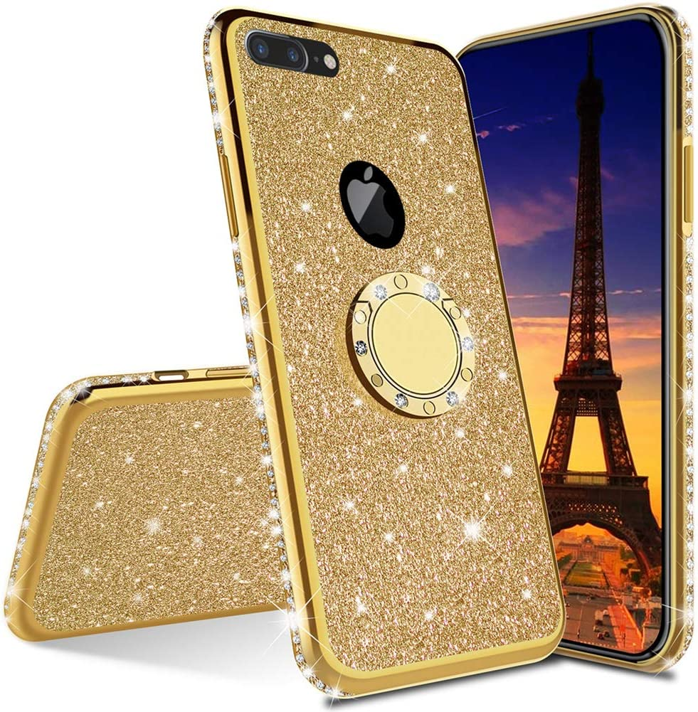 MEIKONST Case for iPhone 7 Plus/ 8 Plus, Stylish Bling Sparkly Diamond Luxury Plating Silicon TPU Soft Case with Ring Stand Holder Ultra Thin Protection Cover for iPhone 7 Plus/ 8 Plus,KDL Gold