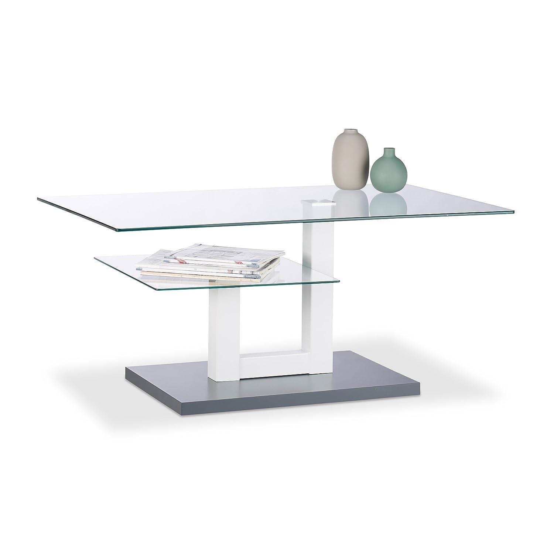 Relaxdays 10023138 Tavolino da Divano in Vetro, Rettangolare, Tavolino Salotto con Piccolo Ripiano, 45 x 100 x 60 cm, Grigio