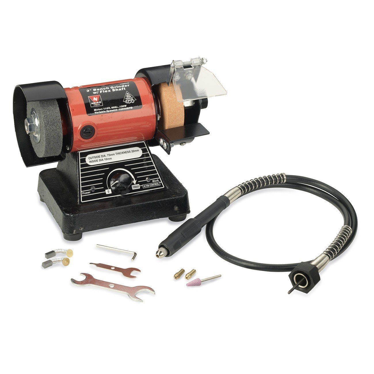 Neiko 10207A 3' Mini Bench Grinder and Polisher with Flexible Shaft and Accessories | 120W | 0-10000 RPM Ridgerock Tools Inc.