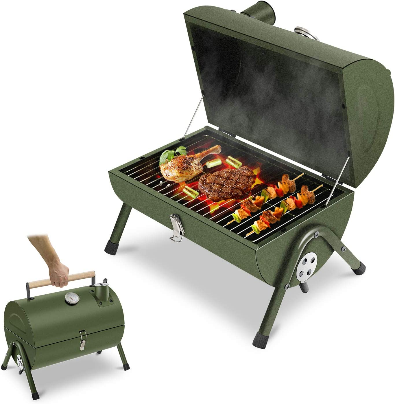 ACWARM HOME Portable Charcoal Grill, Small BBQ Smoker Grill, Tabletop Barbecue Charcoal Grill for Outdoor Camping Garden Backyard Cooking Picnic Traveling (Green)