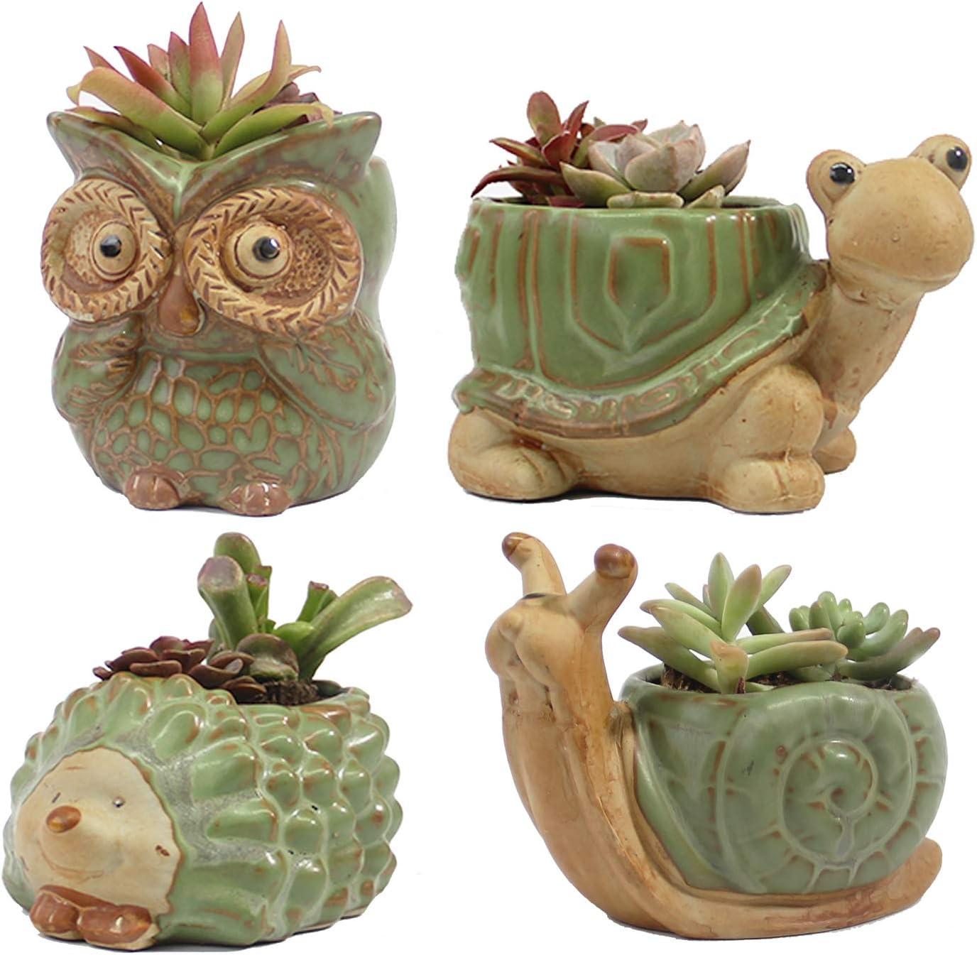SUNSMIL Small Ceramic Succulent Pot with Drainage, Animal Succulent Planter, 4.4 Inch Flower Pots, for Flower, Cactus, Mini Succulent Plants, Home Office Decor, Set of 4 Garden Gift