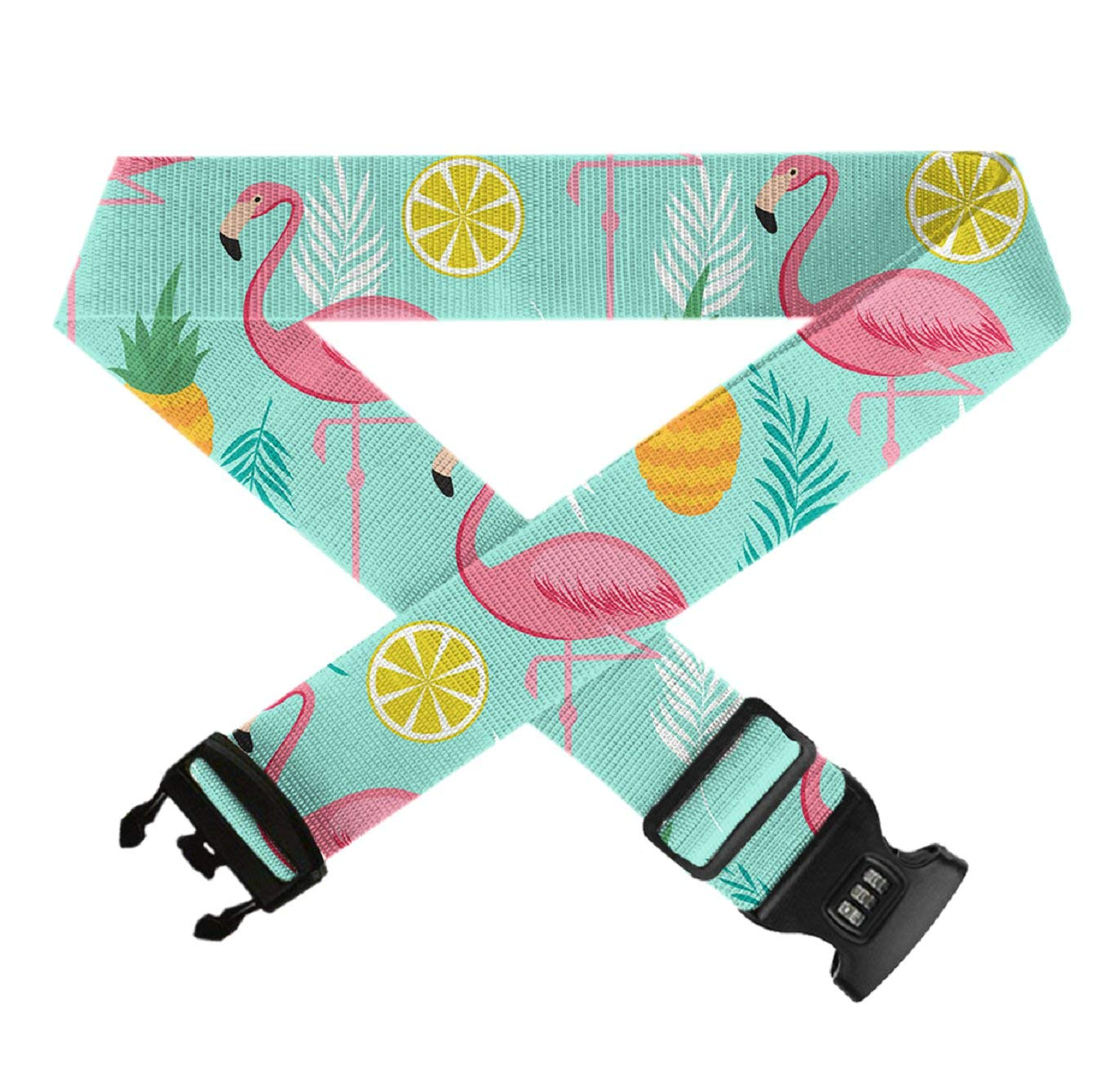 Pink Flamingo Pineapples Heavy Duty Luggage Strap 1 Pack GLORY ART TSA Approved Lock Adjustable Travel Belt for 20-32 Suitcase