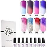 Sexy Mix Gel Nail Polish Set, UV LED Color Changing Mood Chameleon Gel Polishes for Nails 8 Colors 0.24 OZ