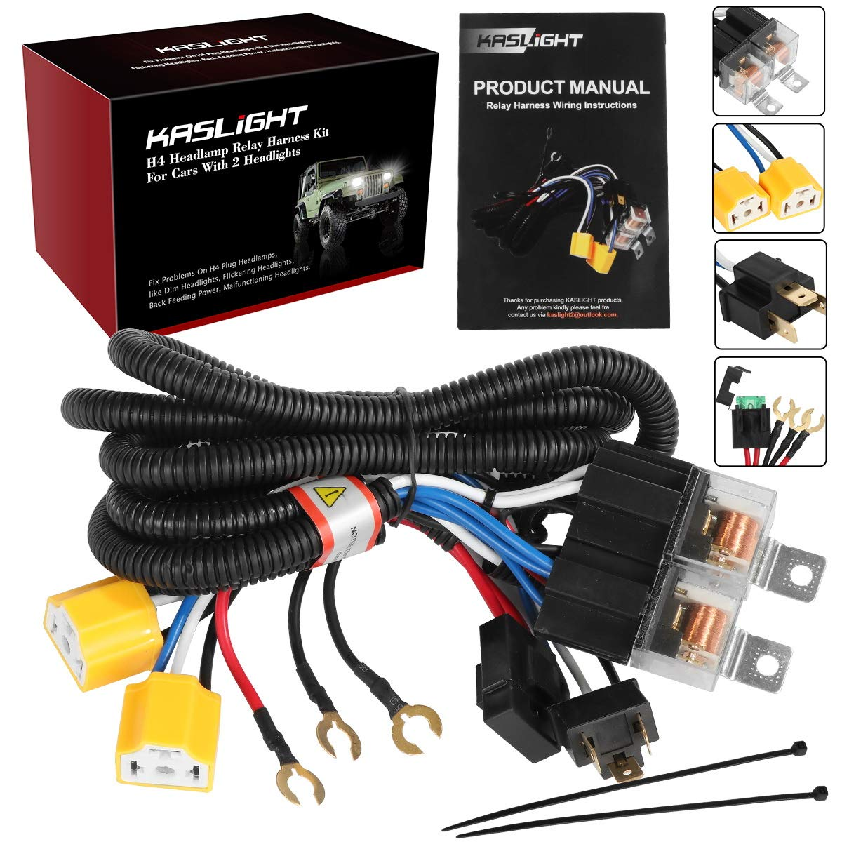 1Set 2 Headlight Harness H4 Headlight Relay Harness H6054 H4 Relay Harness Toyota Pickup Headlights H4 Wiring Harness Headlight Relay Kit For Toyota 95-97 Tacoma 88-95 Pickup Fix Dual Ground Problem 71MeZXKnBCL