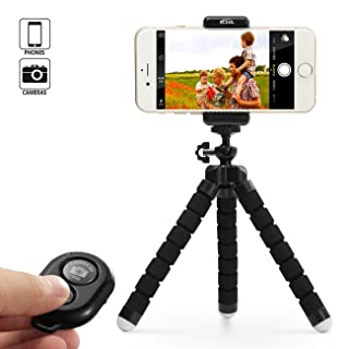 Phone Tripod Stand Holder for iPhone, Cellphone,Camera with Universal Clip and Remote (Black)