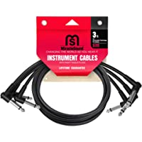 Miracle Sound Guitar Patch Cable for Pedalboard Effects with Right Angle Plug 3-Pack Ideal Electric Guitar and Bass Livewire Cable 3 Feet
