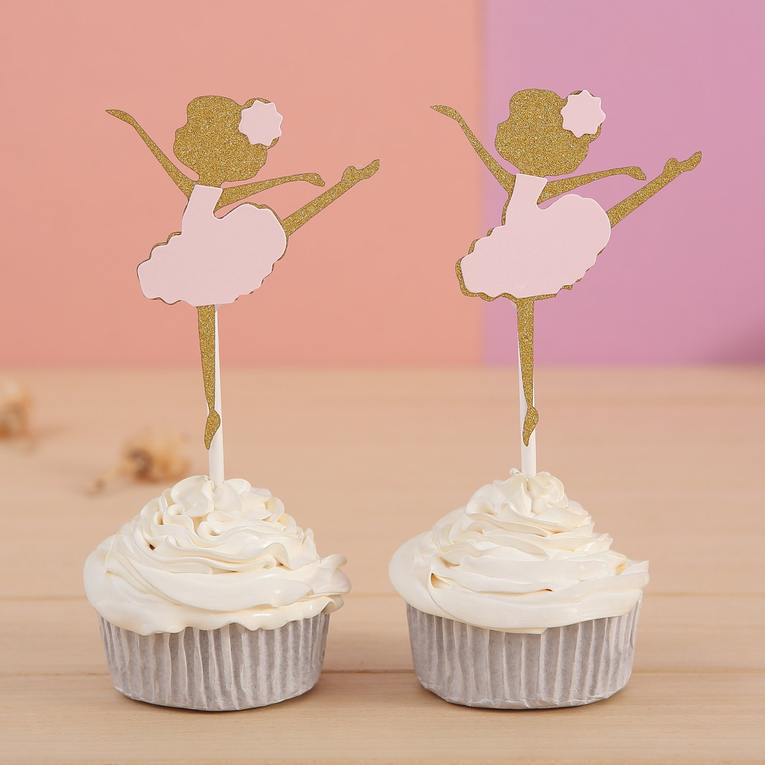 Giuffi 24 CT Gold and Pink Ballerina Cupcake Toppers - by