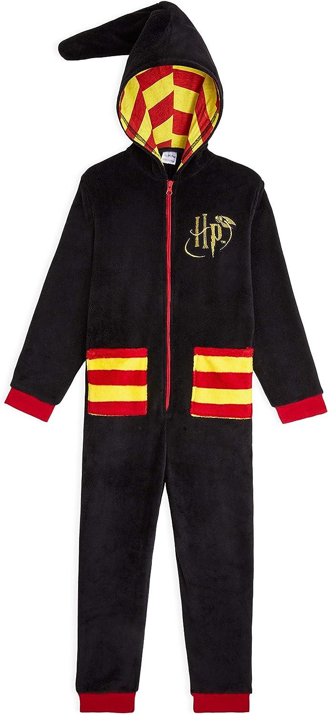 HARRY POTTER Pijama Niña de Una Pieza, Pijama Entero de Una Pieza Diseño Hogwarts, Pijamas Enteros de Forro Polar, Regalos para Niñas Niños Edad 7-14 ...