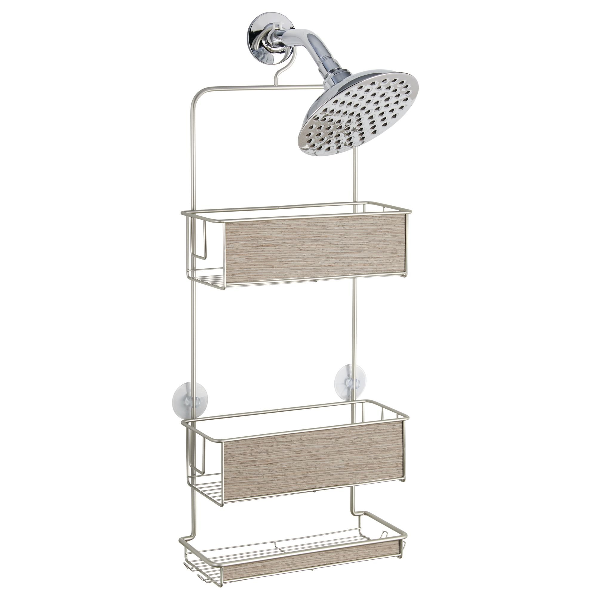 InterDesign RealWood Shower Caddy - Bathroom Storage Shelves for Shampoo, Conditioner and Soap, Satin/Gray Wood