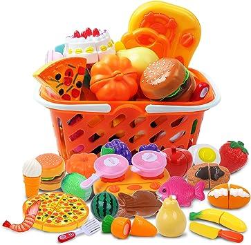 CARLORBO Giocattoli di Legno Finta Play Alimentare per Bambini da Cucina Giochi di Ruolo Frutta e Verdura Giocattoli per 2 Anni Ragazzi e Ragazze