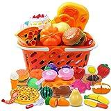 DigHealth 34 Piezas Alimentos de Juguete, Corte de Frutas y Alimentos Falsos, Cortar Frutas Verduras, Temprano…