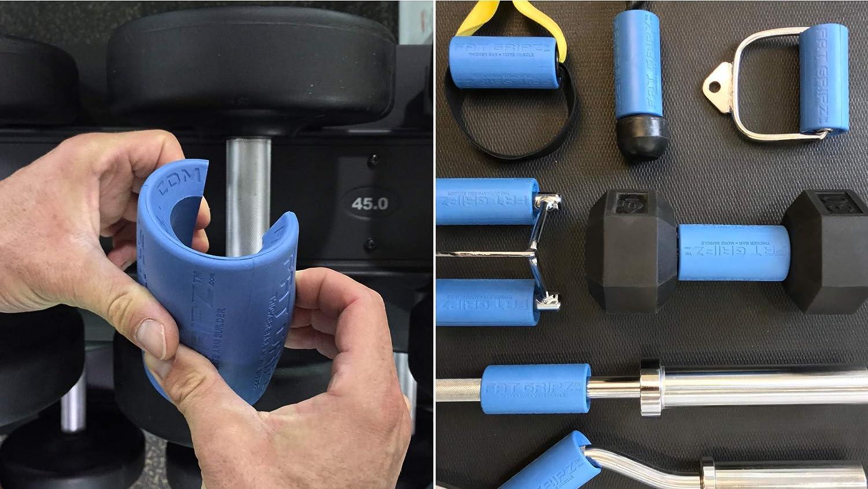 color azul 5,7 cm de di/ámetro Fat Gripz Mangos para barras de musculaci/ón