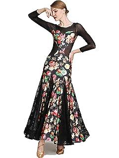 45de1a557 SIQIAN Womens Floral Pattern International Standard Ballroom Dance Dress  Competition Custumes Modern Dance Dress