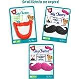 Say Cheeze Dog Squeaky Toy - All 3 in one Set Mouth, Black Mustache and Pink Mustache