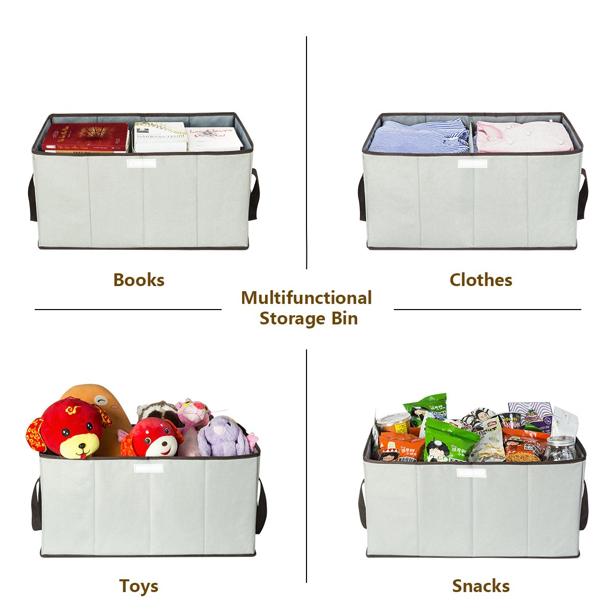Collapsible Toy Chest Large Toy Box Huge Oxford Storage Basket with Flip-Top Lid Handles Double Storage Boxes Storage Sorter bin for Kids Dog Bedrooms, Closets, Playroom (Grey) Zero Jet LAG