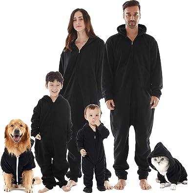Conjunto de pijamas de Navidad de la familia, con capucha de microforro polar, sin pies, de una pieza, para mujeres, hombres, niños, niñas, bebés, perros: Amazon.es: Ropa y accesorios