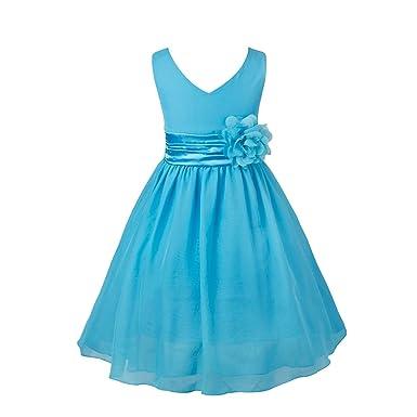 iiniim Girls Chiffon Flower Dress Ball Gown Wedding Bridesmaid Summer Girly Clothing Blue 2 Years