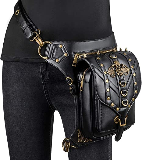 Hombres Mujeres Cuero Multiuso Tactical Drop Leg Arm Bag Pack Riñonera Cintura Riñonera Fanny Messenger Bag, Steampunk Retro Motorcycle Bag Retro Rock Gothic Goth Hombro Waist Bag Drop Leg Bag: Amazon.es: Deportes