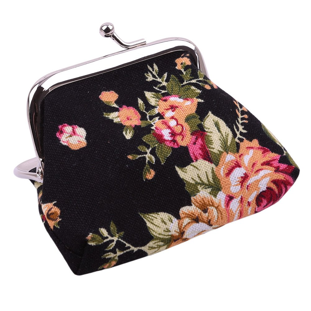 Gluckliy Women Ladies Retro Vintage Flower Coin Purse Small Wallet Hasp Purse Clutch Bag (Black)
