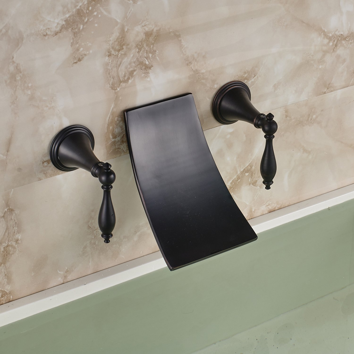 Oulantron Oil Rubbed Bronze Waterfall Spout Bathroom Sink Faucet ...