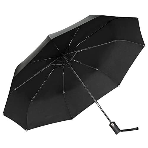 Umbrella,Gritin Windproof Travel Umbrella Automatic Folding Umbrella - Strong Reinforced 9 Ribs Fast Drying Golf Umbrella with Easy One-Button Open/Close and Ergonomic Handle