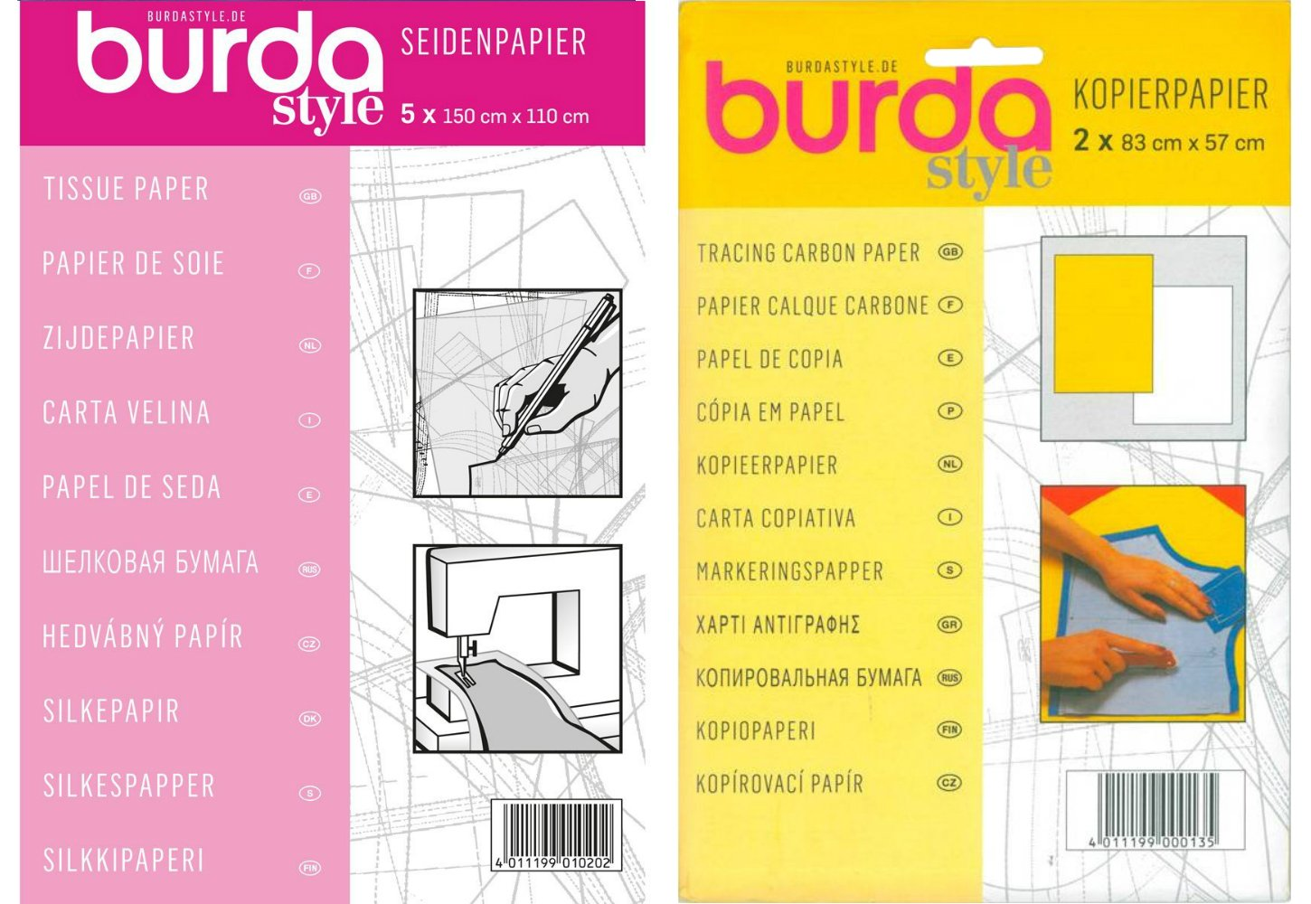 Burda Double Pack - Dressmakers Tissue Paper | 110 x 150cm + Yellow & White Tracing Carbon Paper 83x57cm, 2 Sheets