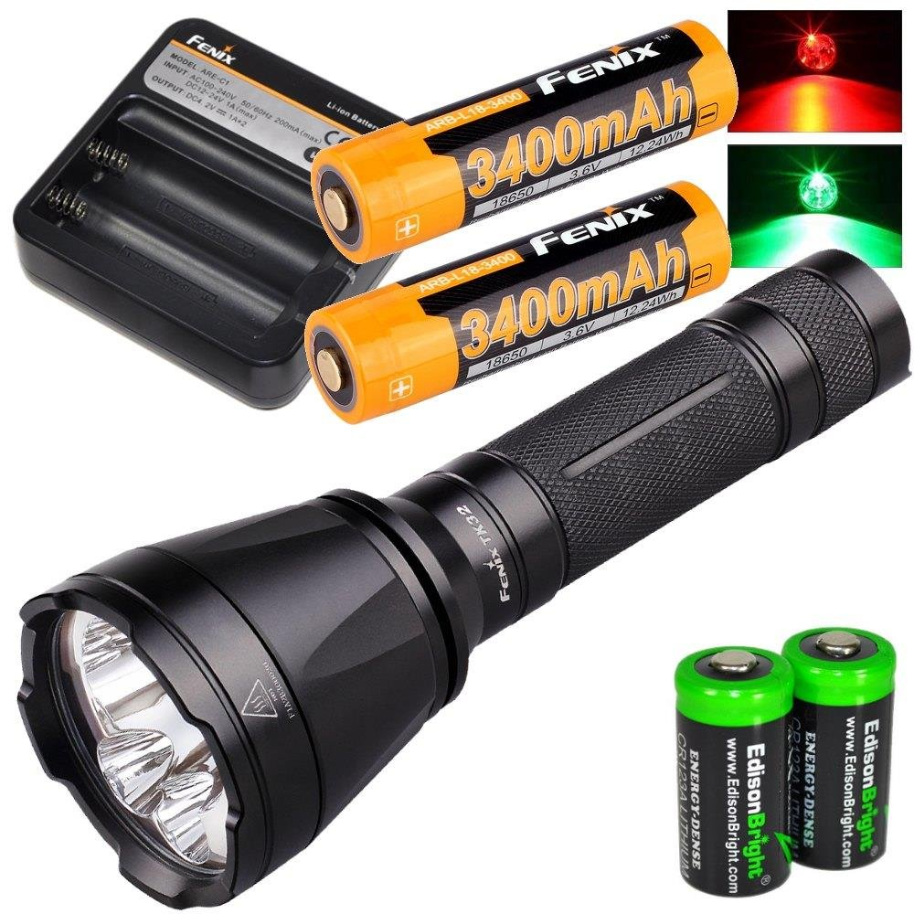 Fenix TK32 2016 1000 Lumen CREE LED built in Red, Green Lights tactical/hunting Flashlight with 2 X Fenix 18650 3400mAH Li-ion rechargeable batteries, Fenix ARE-C1 Home/car Charger and 2 X EdisonBright CR123A Lithium batteries package by Fenix (Image #1)