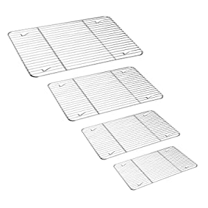 TeamFar Cooling Rack Set of 4, Roasting Baking Racks Stainless Steel for Baking Sheet Toaster Oven Pan, Healthy & Rust Free, Mirror Finish & Dishwasher Safe