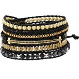 Plumiss Boho Leather Handmade Natural Stone Crystal Bead Wrap Bracelets Collection