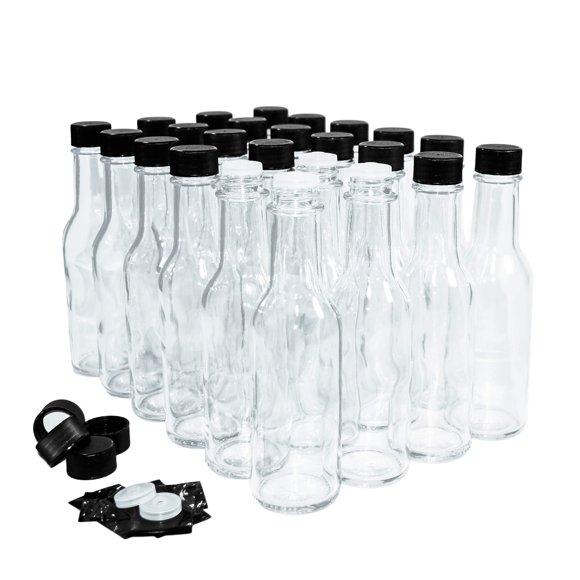 (24 Pack) 5 oz. Clear Glass Hot Sauce Bottle (woozy) with Black Cap + Shrink band and Orifice Reducer by GBO GLASSBOTTLEOUTLET.COM