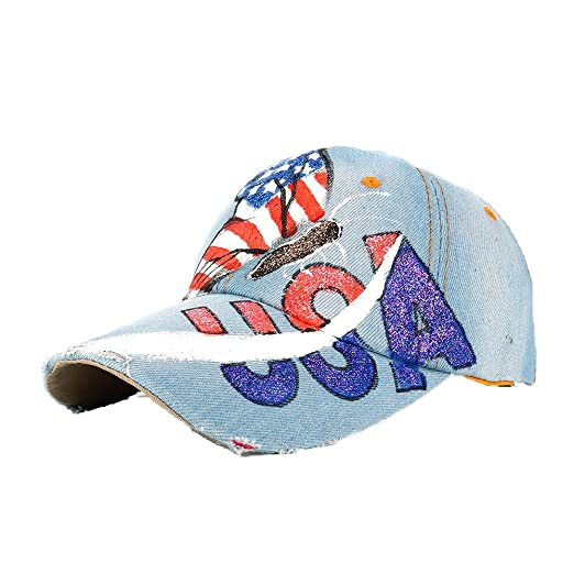 CutePaw Unisex Classic Vintage USA American Eagle Printing Washed Denim  Baseball Cap Adjustable Low Profile Dad Hat denim1 one Size at Amazon Men s  Clothing ... 01d67f260b0