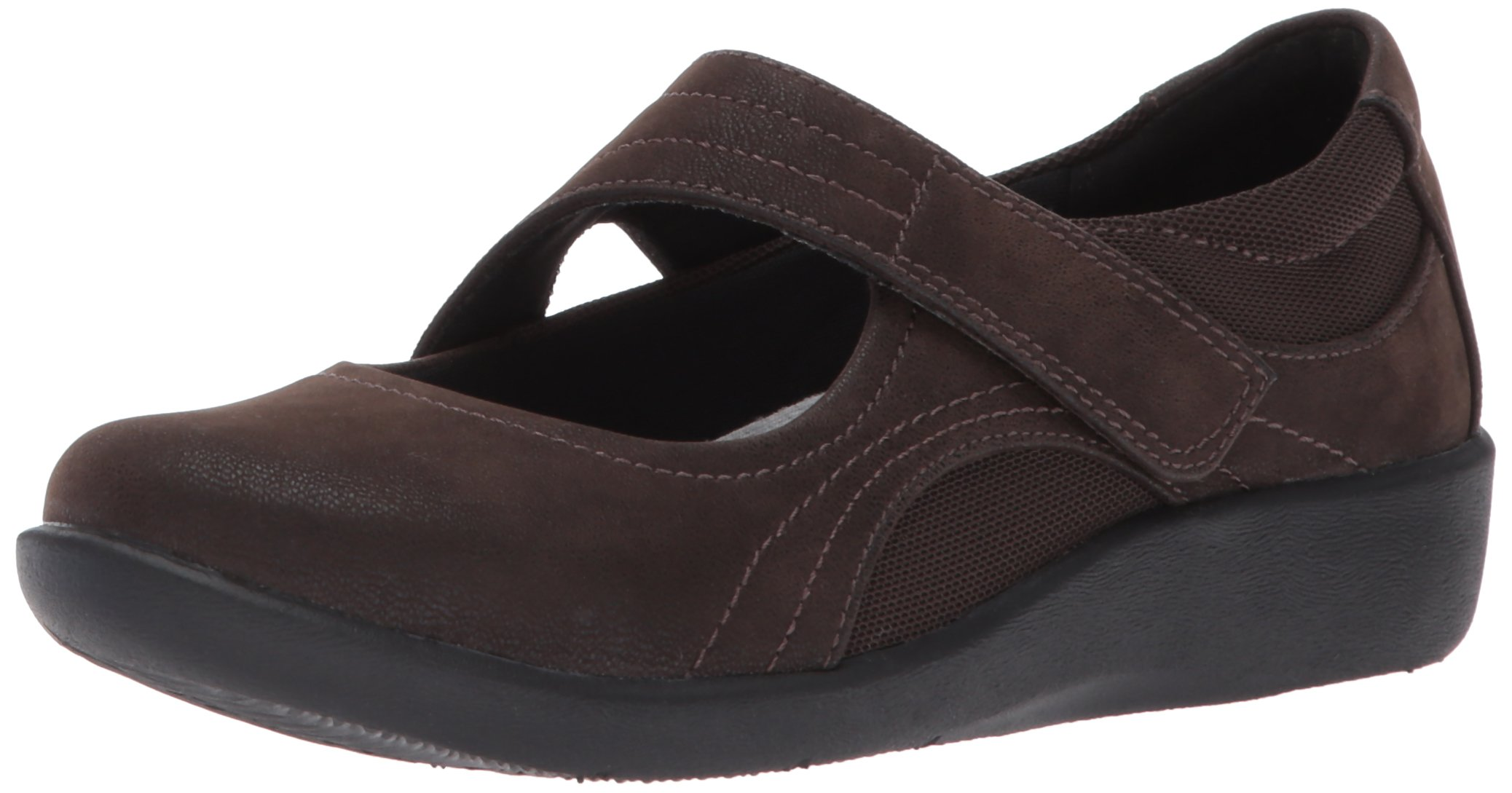 CLARKS Women's Sillian Bella Mary Jane Flat, Dark Brown Synthetic Nubuck, 8 W US