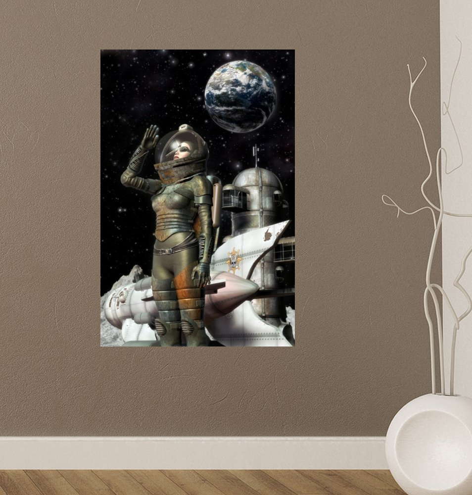 18 in H x 12 in W Wallmonkeys Steampunk Girl Moonbase Wall Decal Peel and Stick Graphic WM149612