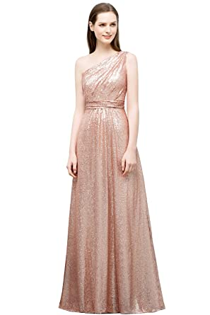 Misshow Womens A Line Sparkly Sequins One Shoulder Party Evening Gown, Rose Golden, Size