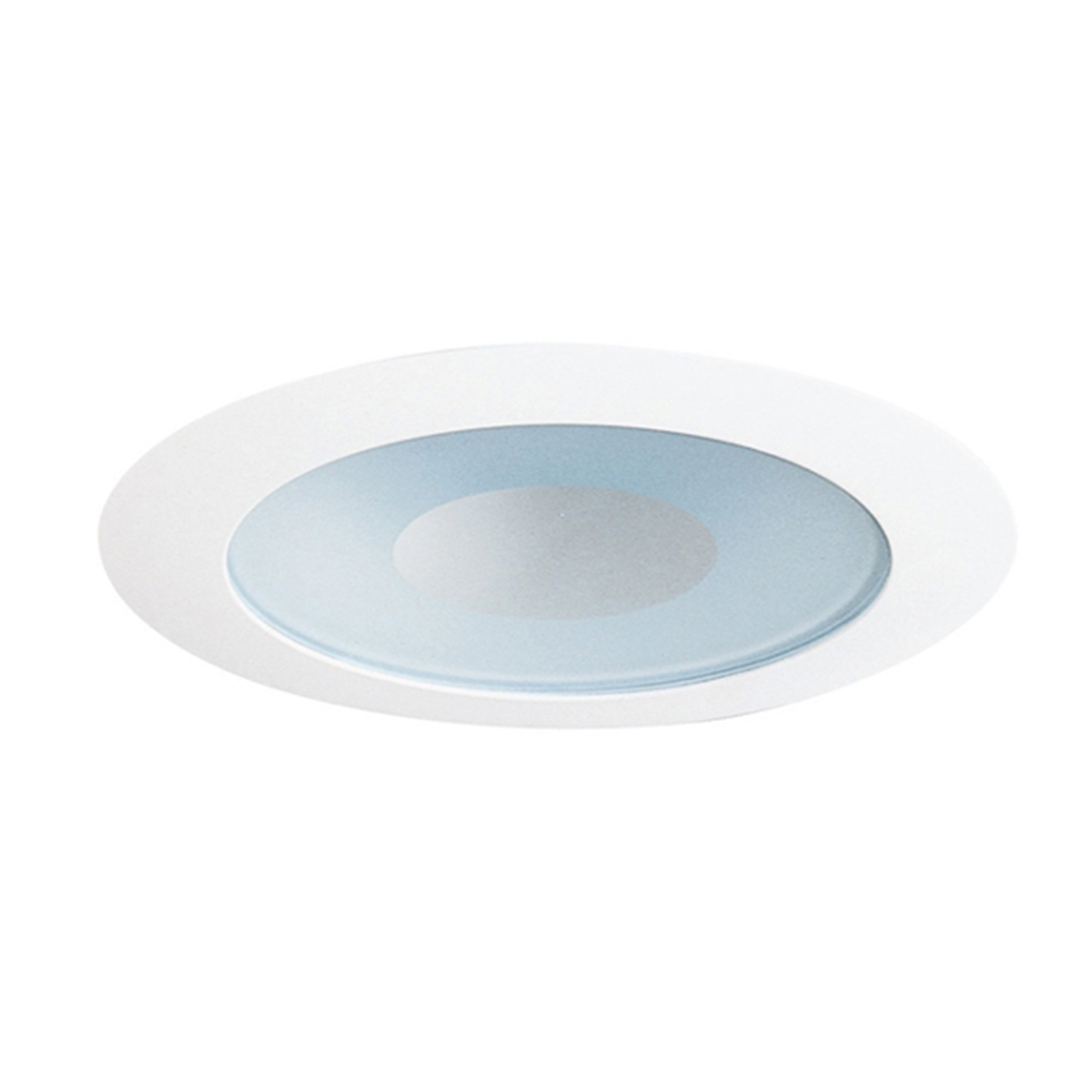 Juno Lighting 441W-WH Lensed 4IN LV Shower Trim, Perimeter Frosted Lens with White Trim Ring