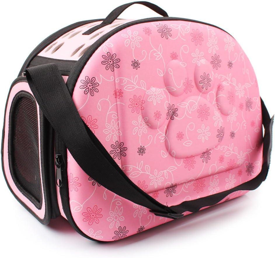 Yimidear Al Aire Libre Respirable Plegable Bolsa para Mascotas para Perro Gato Cómodo Viaje Talla Mediana Portador de Mascotas (Rosa)