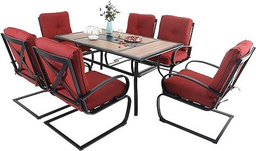 MFSTUDIO 7PCS Outdoor Patio Dining Table Set