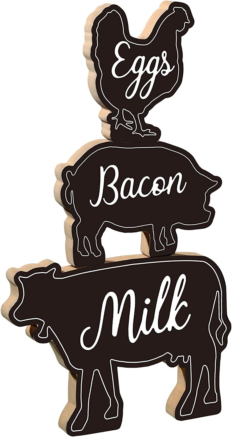 3 Pieces Farm Animals Wood Sign Cow Pig Chicken Decor Signs Cow Pig Chicken Shape Chalkboard Decor Rustic Cow Pig Chicken Wooden Plaque Farmhouse Kitchen Animals Wood Block Sign for Country Kitchen