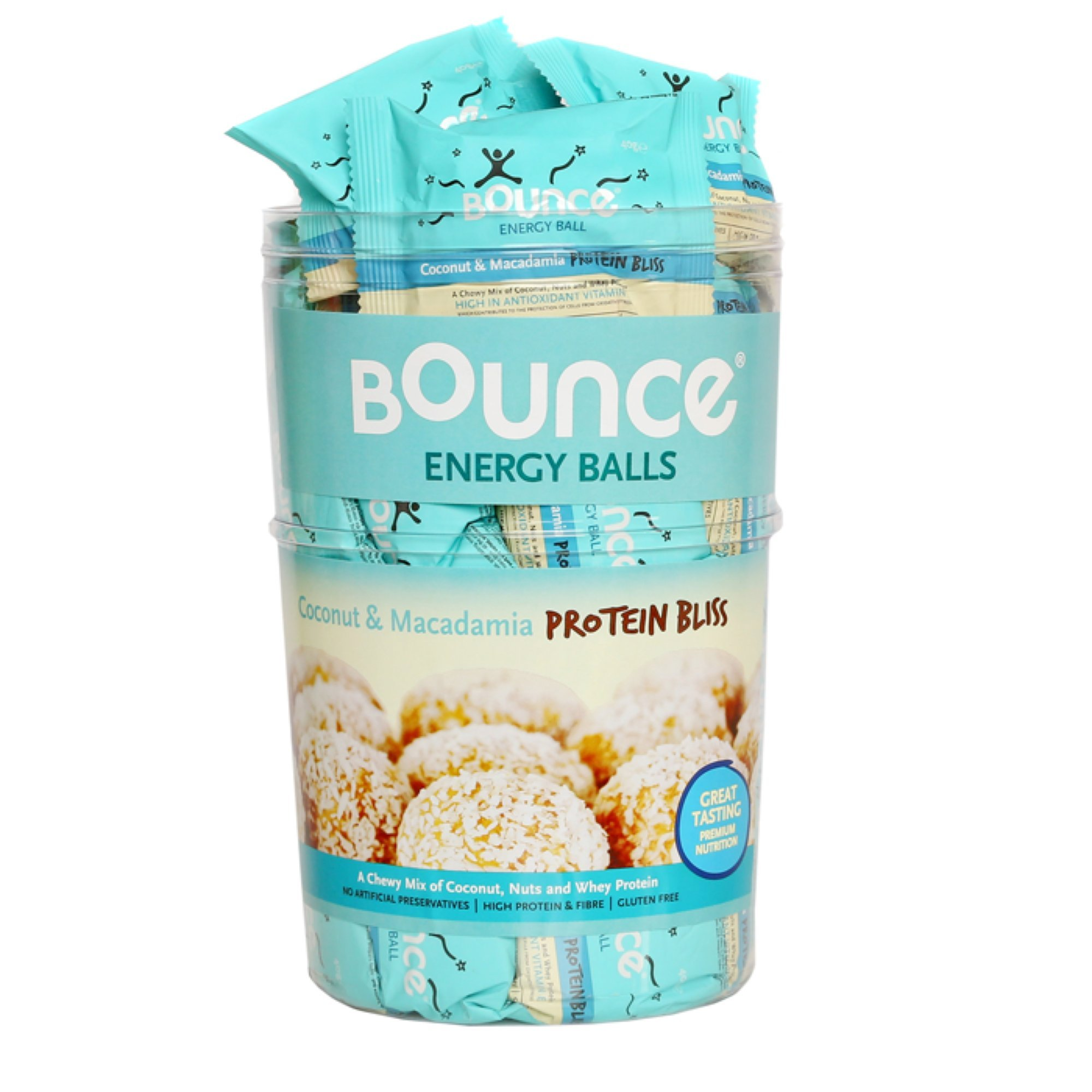 Bounce Coconut & Macadamia-Protein Bliss-Energy Balls 40g (Pack of 40)
