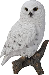 """Pacific Giftware 6.7"""" Tall Realist Look Snow Owl Standing Resin Figurine Statue"""