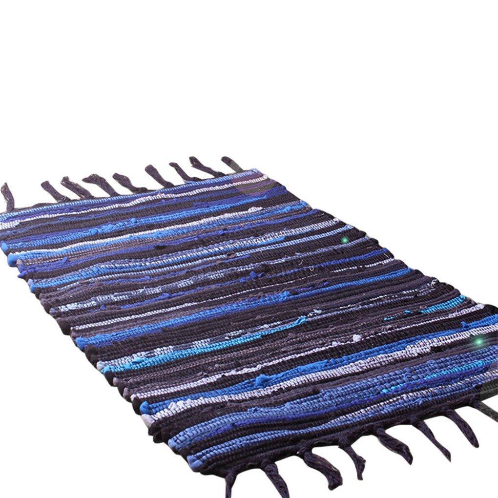 Fashion Area Rugs Mediterranean Style Cotton Kitchen Oblong Shape Multi-Usage (Blue, Size:50x80cm) JYJM